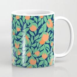 Oranges and Leaves Pattern - Navy Blue Coffee Mug