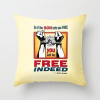 aelwen Throw Pillows featuring FREE INDEED! by Peter Gross