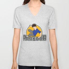 Awesome and Cool Parkour Tshirt Design Parkour Logo Unisex V-Neck