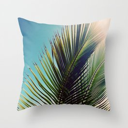 Sunny Palm Tree Throw Pillow