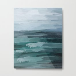 Seafoam Green Indigo Abstract Ocean Art Painting Metal Print
