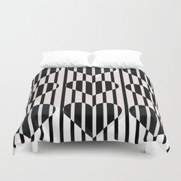 Black and White Stripe Hearts Design Duvet Cover
