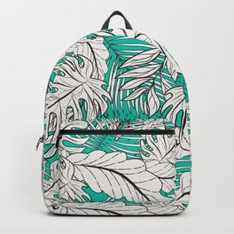 Drawing of tropical plants on turquoise Backpack