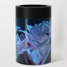 pink and blue flowers on black Can Cooler
