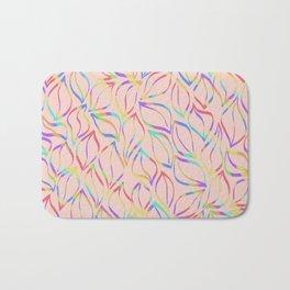 Rainbow Petals on Pink Bath Mat