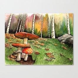 Autumn Mushroom Family Canvas Print