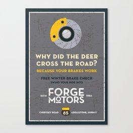 Vintage Car Garage Poster Canvas Print