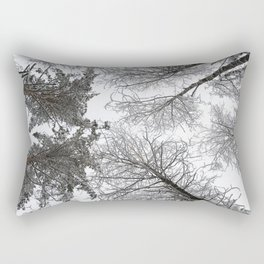 Forest trees in winter. View to the top. Rectangular Pillow