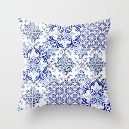 Azulejo VIII - Portuguese hand painted tiles Throw Pillow