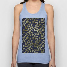 Gold Leaves on Navy Unisex Tank Top