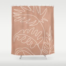 Engraved Plant Line Shower Curtain