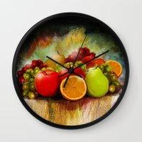 fruits Wall Clocks featuring fruits by ErsanYagiz