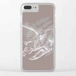 Triceratops Skull in digital technique Clear iPhone Case