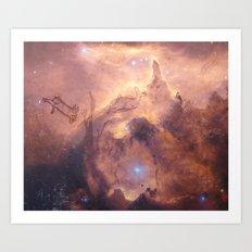 Galaxy space deer Art Print