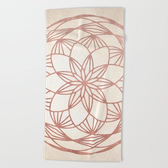 Mandala Bud Rose Gold on Cream Beach Towel