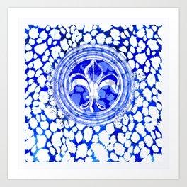 Fleur De Lis Blue And White Pattern Art Print