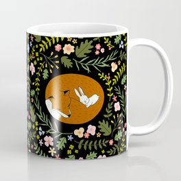 Friendship in Wildlife_Fox and Bunny_Bg Black Coffee Mug