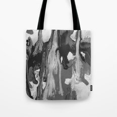 Black And White Marble Drips Tote Bag