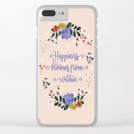 Happiness blooms from within- delicate pastel pattern Clear iPhone Case