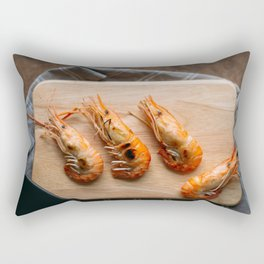 Grilled shrimps on wooden board Rectangular Pillow