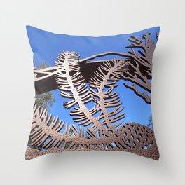 Pine branch blue skies Throw Pillow