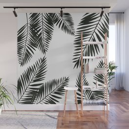 Black Watercolor Tropical Leaves Wall Mural