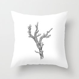 Red coral - corallium rubrum  - black and white Throw Pillow