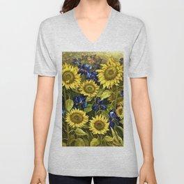Sunflowers & Blue Irises by Vincent van Gogh Unisex V-Neck