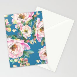 Watercolor pink Peonies with butterflies seamless pattern Stationery Cards