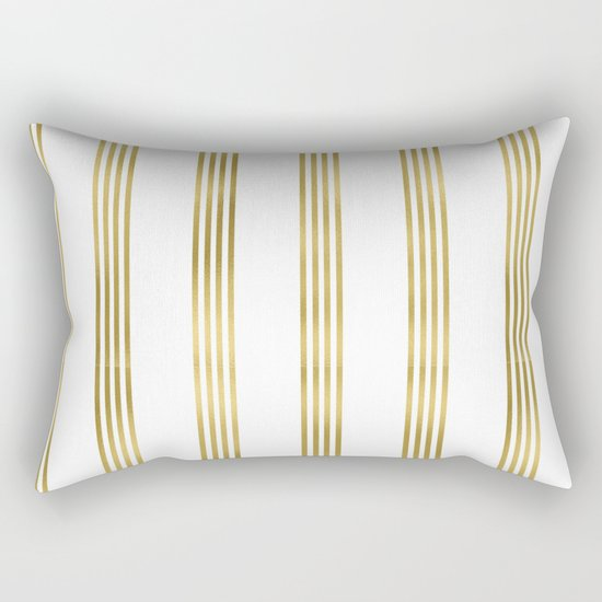 Gold small stripes on clear white - vertical pattern Rectangular Pillow