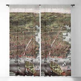 Brooklyn map vintage Blackout Curtain
