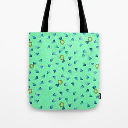 Diamond Pattern Cartoon Pins Ring Patch Style Teal Blue Cell Duck Egg Blue Design Tote Bag