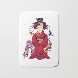 Japanese Geisha Artistic Floral Flower Japanese Art  Bath Mat