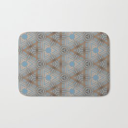 Beige and Blue Contemporary Tribal Pattern Bath Mat