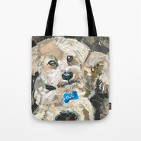 charlie Tote Bags featuring Charlie by Maritza Hernandez