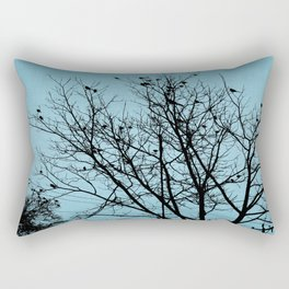 Blue Birds Silhouette Rectangular Pillow