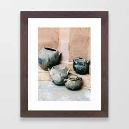 Pottery in earth tones | Ourika Marrakech Morocco | Still life photography Framed Art Print