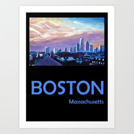 Retro Travel Poster Boston Massachusetts Art Print