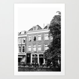 Dutch Canal Houses | City Utrecht | The Netherlands | Europe | Travel Photography | Black and White Photography | Art Print | Architecture | Buildings | Cityscape  Art Print