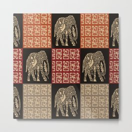African Tribal Pattern No. 40 Metal Print