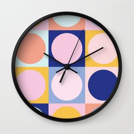 Colorful Circles in Squares Wall Clock
