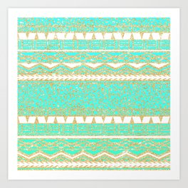 Modern gold turquoise teal ombre aztec pattern Art Print