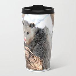 North American Opossum in Winter Travel Mug