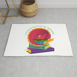 A Dragon Protects His Treasures (books) Rug