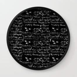 White French Script on Black background with White birds Wall Clock