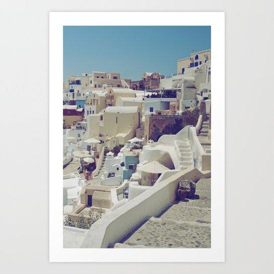 Streets of Santorini II Art Print