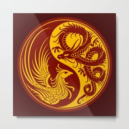 Yellow and Red Dragon Phoenix Yin Yang Metal Print