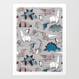 Origami dino friends // grey linen texture blue dinosaurs Art Print