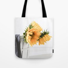 Sunfower Basket Tote Bag