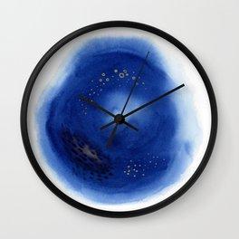 Royal Blue Abstract Watercolor Wall Clock
